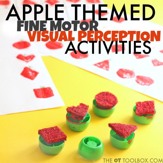 Kids love these visual perception apple activities that also work on fine motor skills