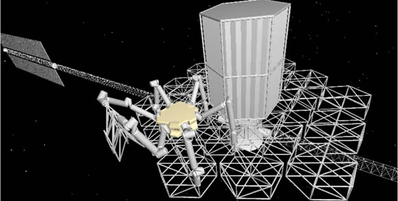 The conceptual CAD rendering of an assembly robot deploying a truss module. Folded truss modules are stored in a cargo housing unit shown docked to the central hub. doi:10.1117/1.JATIS.2.4.041207 ©