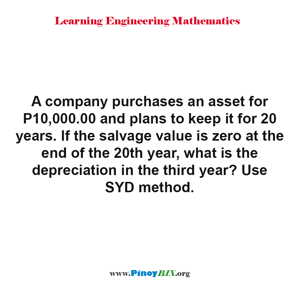 What is the depreciation in the third year of an asset for P10,000.00?