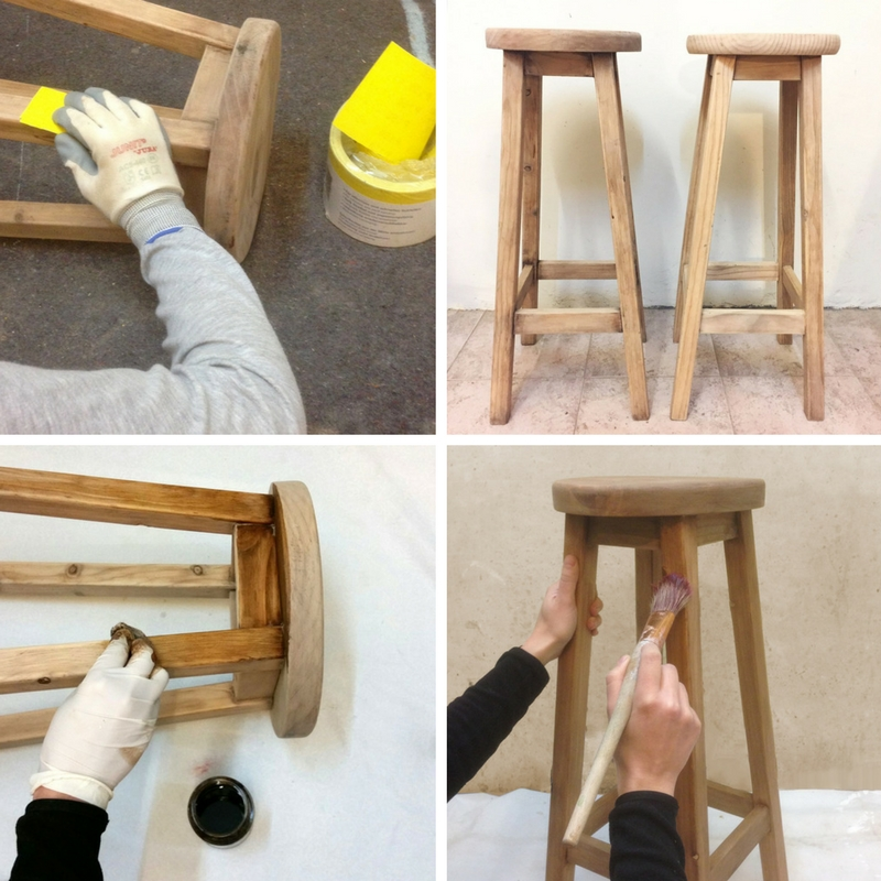 Paso A Paso - Dos taburetes de madera - Lijando y sellando
