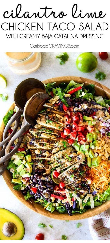 Cilantro Lime Chicken Taco Salad With Creamy Baja Catalina Dressing