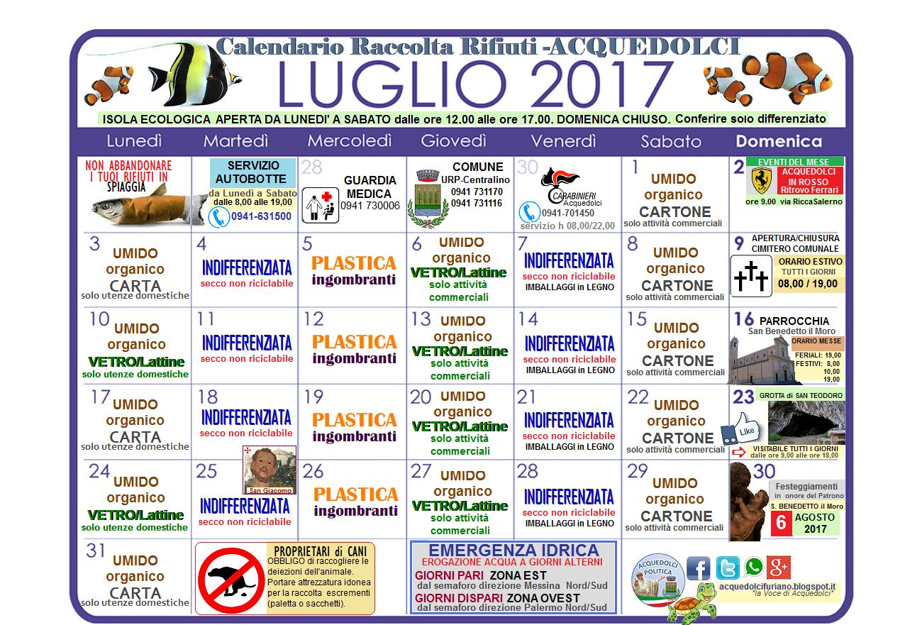 Calendario Raccolta Differenziata Sanremo.Raccolta Differenziata Il Calendario Del Mese Di Luglio 2017