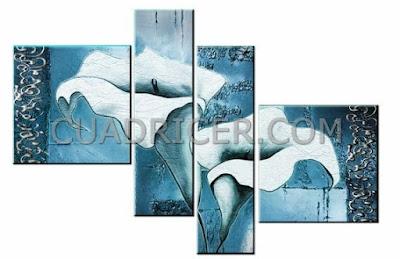 http://www.cuadricer.com/cuadros-pintados-a-mano-por-colores/cuadros-azul-turquesa/flores-calas-azules-cuadros-modernos-espana-2244-salones-comedores.html