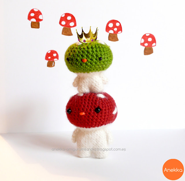 green and red mushroom mohair doll