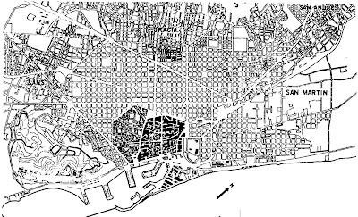 Mapa con el ensanche de Barcelona