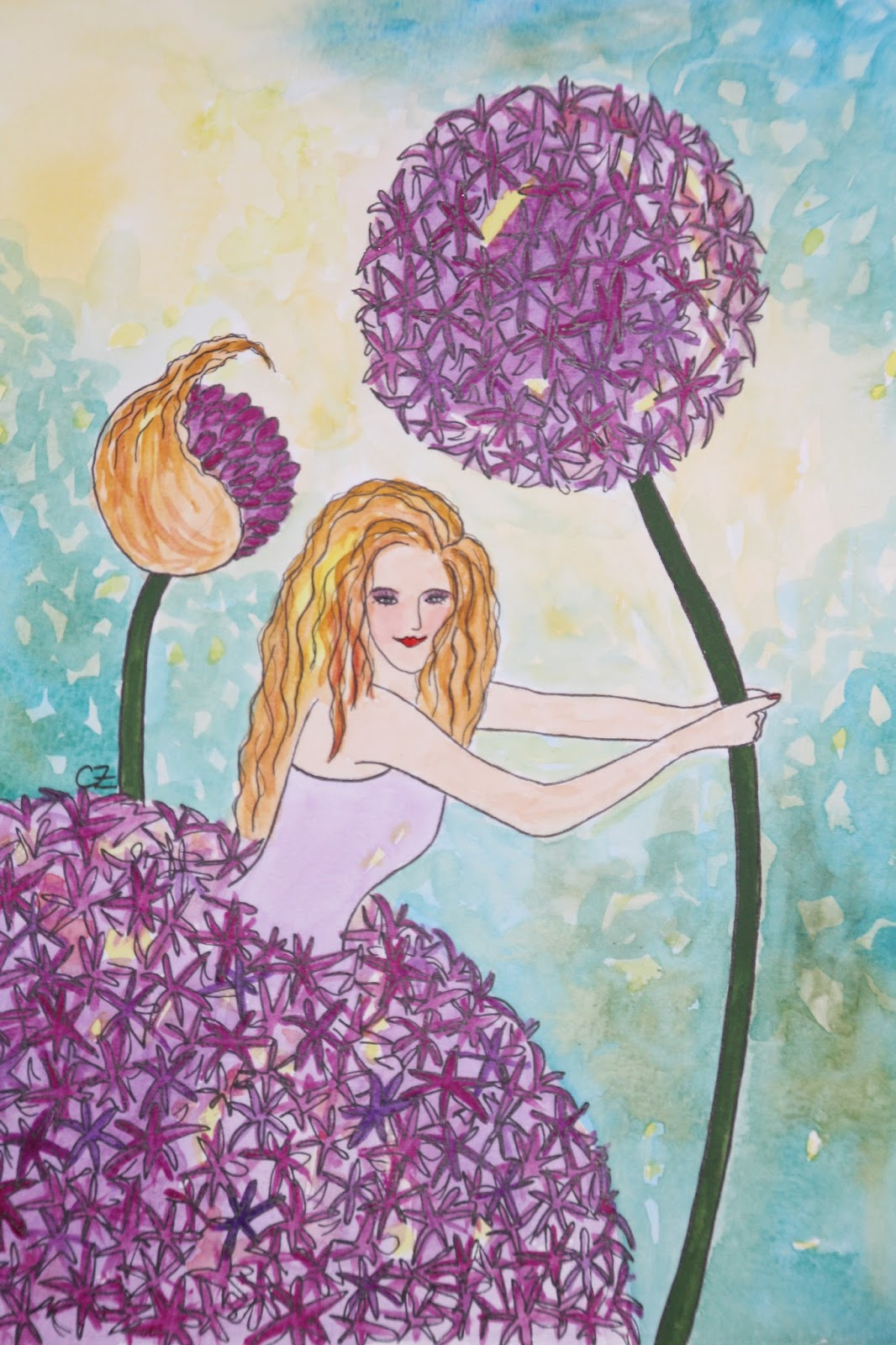 Kirgislök allium aflatuense akvarell carolin zander