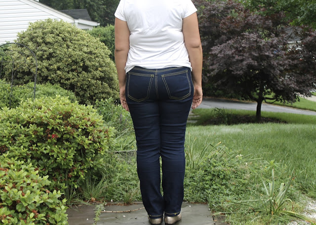 Dark blue pull-on stretch jeans made from the Ginger Jeans sewing pattern by Closet Case Files.