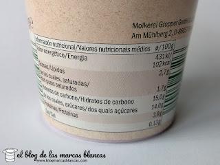 Valores nutricionales del yogur ecológico con cereza Milbona de Lidl.