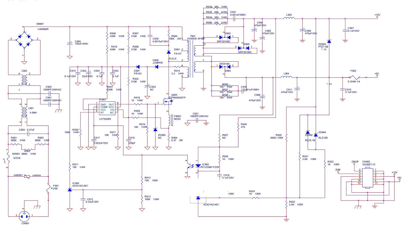 Emachine E19T6W LCD color monitor SMPS circuit diagram 715G1695 1GW ...