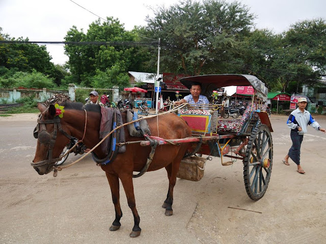 horse cart for hire in Bagan, Burma