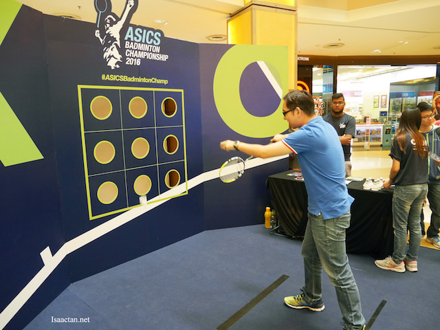 Trying my luck at one of the games station during the event launch