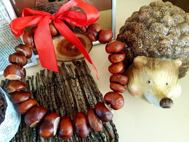 prace plastyczne z liści - prace plastyczne jesień - jesienne diy - prace plastyczne z kasztanów - jesienny wieniec - dary jesieni - jesienne dekoracje - girlanda z liści - świeczniki ze słoików