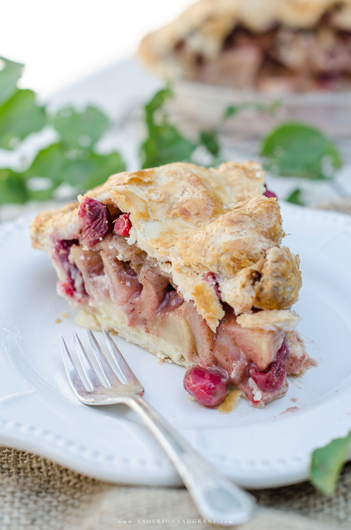 Homemade Apple Cranberry pie with golden crust
