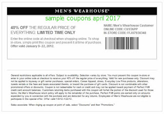 Men's Wearhouse coupons april 2017