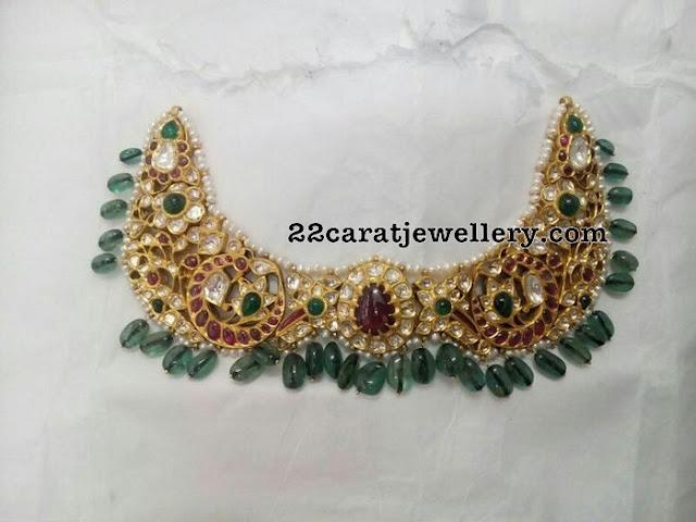 Kundan Peacock Choker Emerald Drops