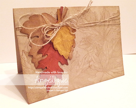 http://stempelkeuken.blogspot.com Stampin' Up! Vintage leaves, Witching Décor Project Kit, Crumb Cake, Soft Suede
