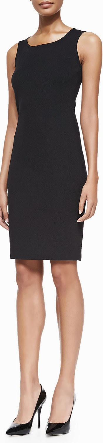 St. John Collection Milano Pique Knit Scoop-Neck Dress in Black