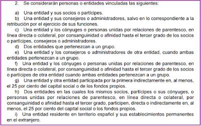 Artículo 18.2 Ley 22/2014 Impuesto Sociedades partes vinculadas efectos fiscales