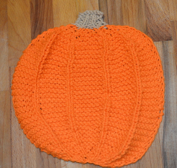 knit dishcloth washrag pumpkin fall knitting