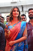 Puja Hegde looks stunning in Red saree at launch of Anutex shopping mall ~ Celebrities Galleries 107.JPG