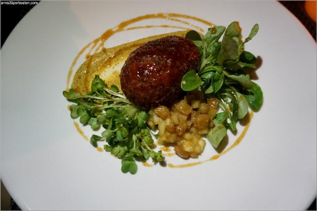 Pork Rillettes Croquette: Apple & pear mostarda, spicy beer mustard, rojo cider reduction, daikon radish sprouts, lamb's lettuce
