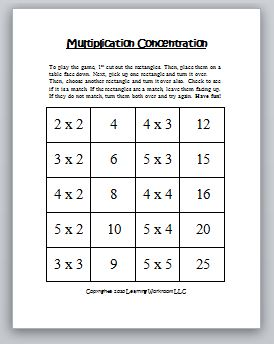 Multiplication+Concentration+X2+-+X+5 X Timetable Worksheets on about day activity,