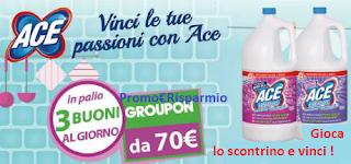 Logo ACE ti premia con buoni acquisto Groupon da 70 euro