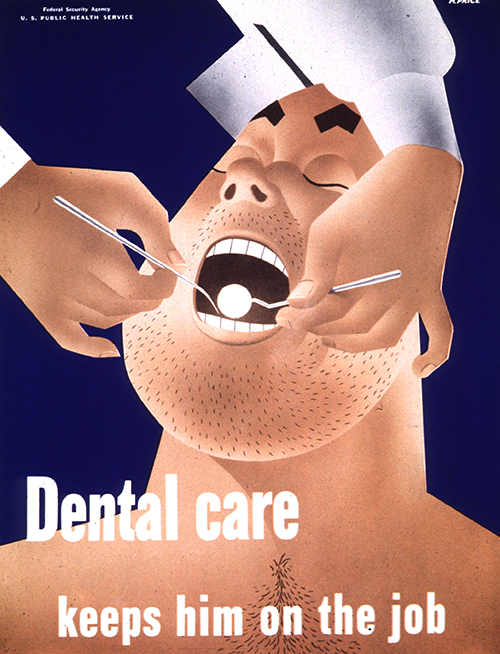 Dental Care Keeps Him on the Job - Vintage Public Health Poster, classic posters, federal art project, food, free download, free posters, free printable, graphic design, printables, public health, public service announcement, retro prints, vintage, vintage posters, vintage printables, wpa