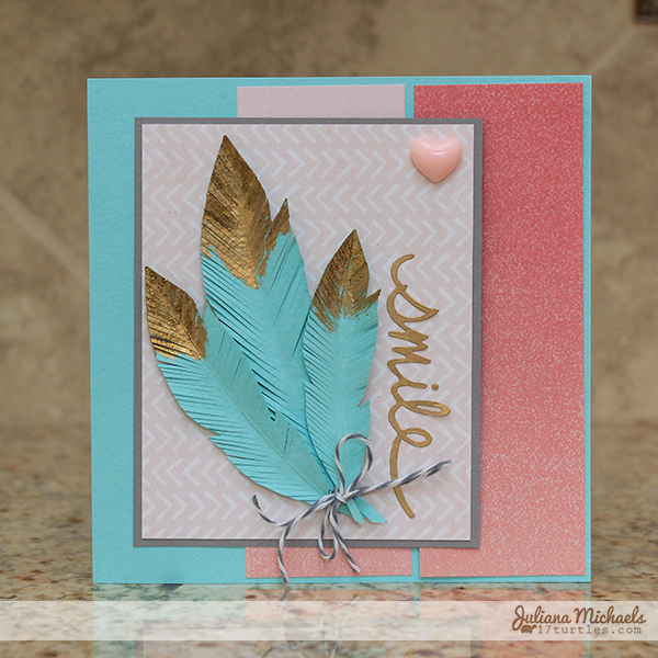 Smile Golden Feathers Card by Juliana Michaels