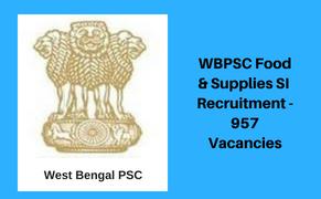 West Bengal Sub-Inspector recruitment 2018 - 957 posts