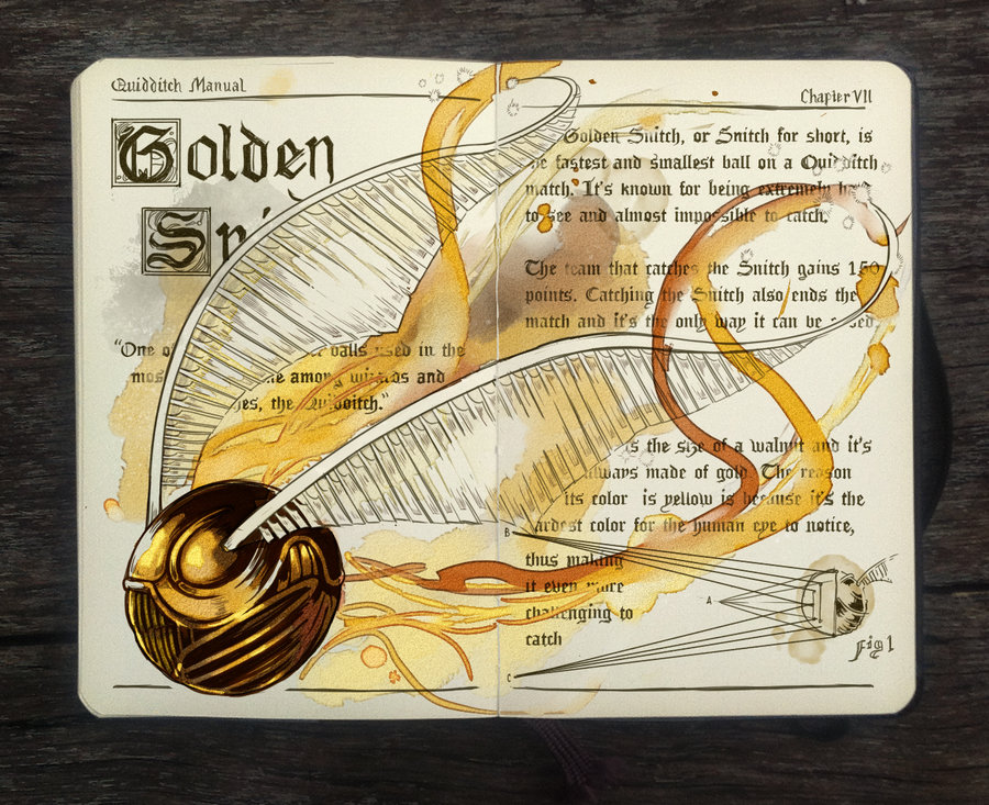 09-Golden-Snitch-Gabriel-Picolo-kun-Harry-Potter-Moleskine-Drawings-of-Wizard-Spells-www-designstack-co