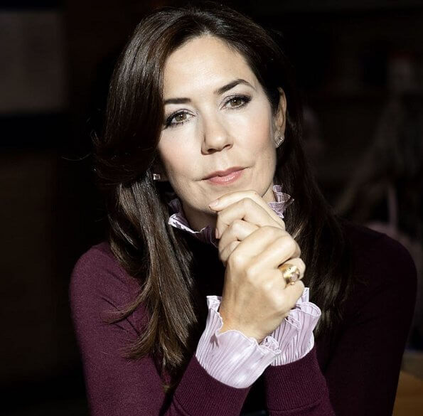 Crown Princess Mary wore Sandro Binic plaid button detail pants and burgundy sweater, pink high neck blouse, pink diamond earrings