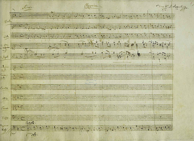 First page of Mozart's manuscript for the Requiem