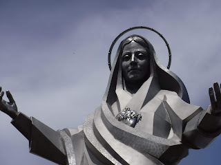 30 foot tall Immaculate Heart of Mary sculpture by Dale Lamphere at Trinity Heights in Sioux City, Iowa