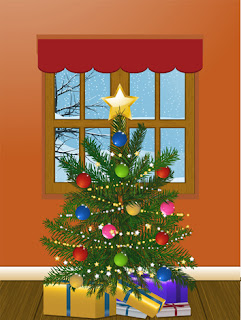 Clipart image of a Christmas tree with presents beneath