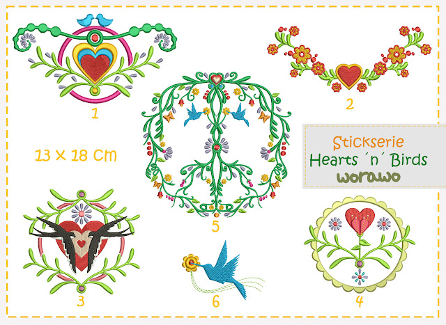 Hearts ´n´ Birds Stickdatei