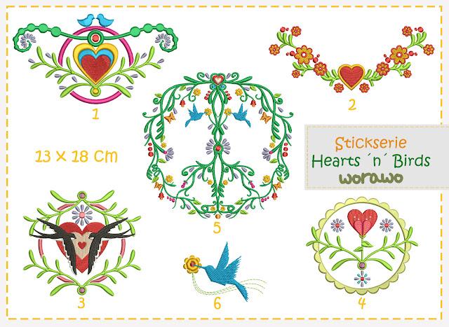 Hearts ´n´ Birds Stickdatei