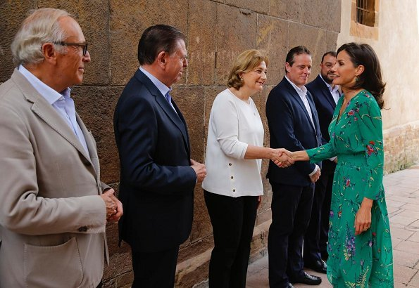 Queen Letizia wore a flower print asymmetric silk midi dress by Maje Paris. International School of Music of Princess of Asturias Foundation