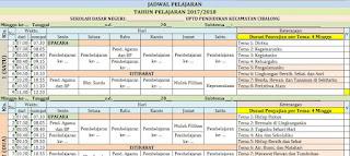 Jadwal Pelajaran Umum Tematik SD-Alokasi Waktu dan Tema SD-Jadwal Umum K-13 SD Kelas 1-6 revisi 2018