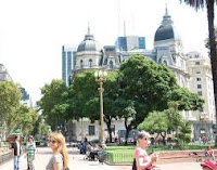 Pope Francis and main Cathedral in Buenos Aires. Area.