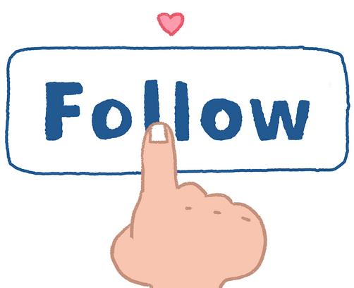 Gambar tangan menunjuk tulisan follow