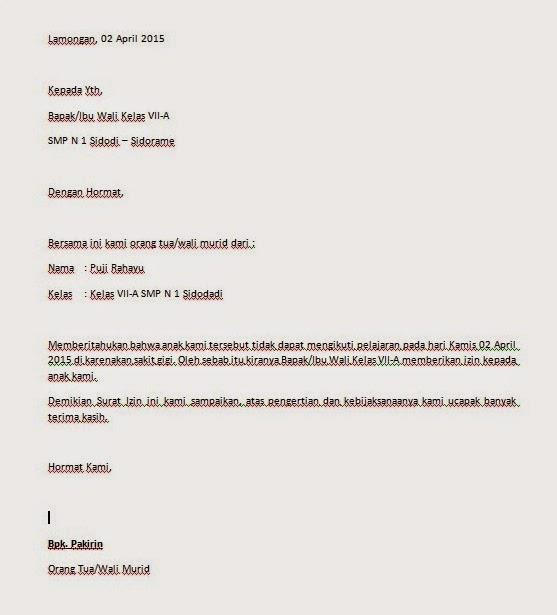 Contoh Surat Izin Orang Tua Lengkap Yang Baik Dan Benar
