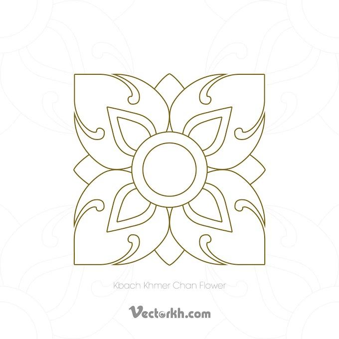 khmer Flower Shape into Angkor Ornament free vector