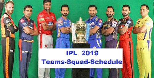 IPL 2019: Eight Teams and players, Full squads List, schedule, scores, results