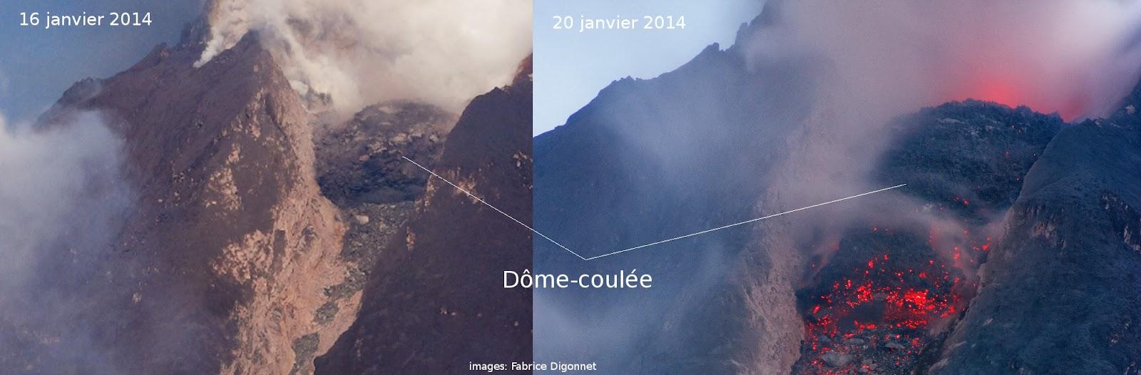 Coulée visqueuse du volcan Sinabung, 16 et 20  janvier 2014