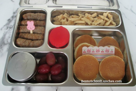 Mini pancakes, sausages, breakfast for lunch