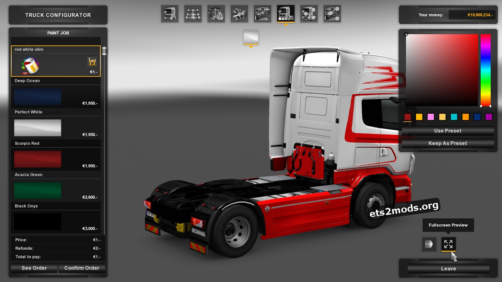 Scania RJL White&Red Skin