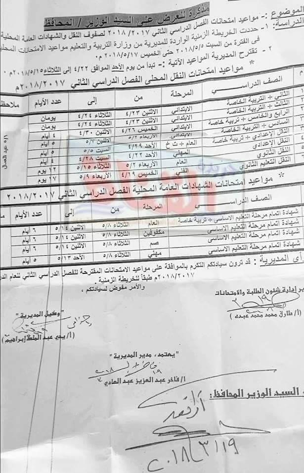 جدول امتحانات الصف السادس الابتدائي 2018 الترم الثاني محافظة الاسماعيلية