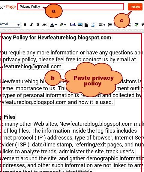 newfeatureblog.com privacy policy page blog me add kare