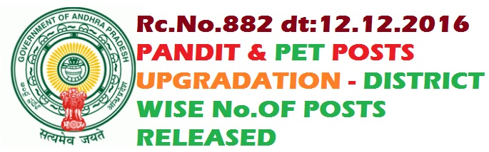 AP LANGUAGE PANDITS-TELUGU,HINDI,URDU,KANNADA,ORIYA,TAMIL AND PHYSICAL EDUCATION TEACHERS(P.E.T) UP GRADATION  POSTS DISTRICT WISE
